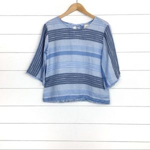 Cloth & Stone Textured Stripe Tie Back Top Blue